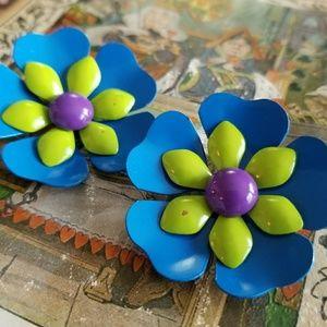 Vintage flower earrings blue green purple enamel